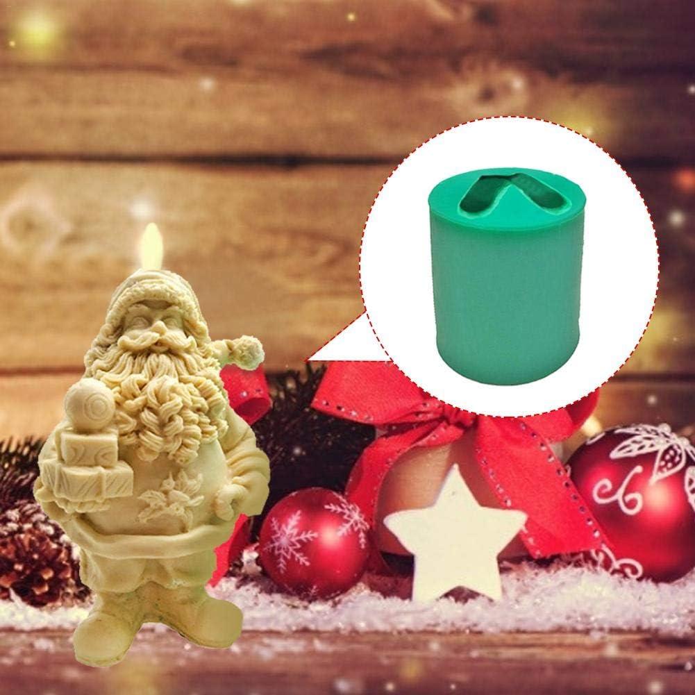 N//H Silikonform Weihnachten Harzformen Kerzenform 3D Santa Mould Seifenform Giessform Schokoladenform Kuchenform f/ür Kerzenkuchen Seife DIY Figuren Handwerk