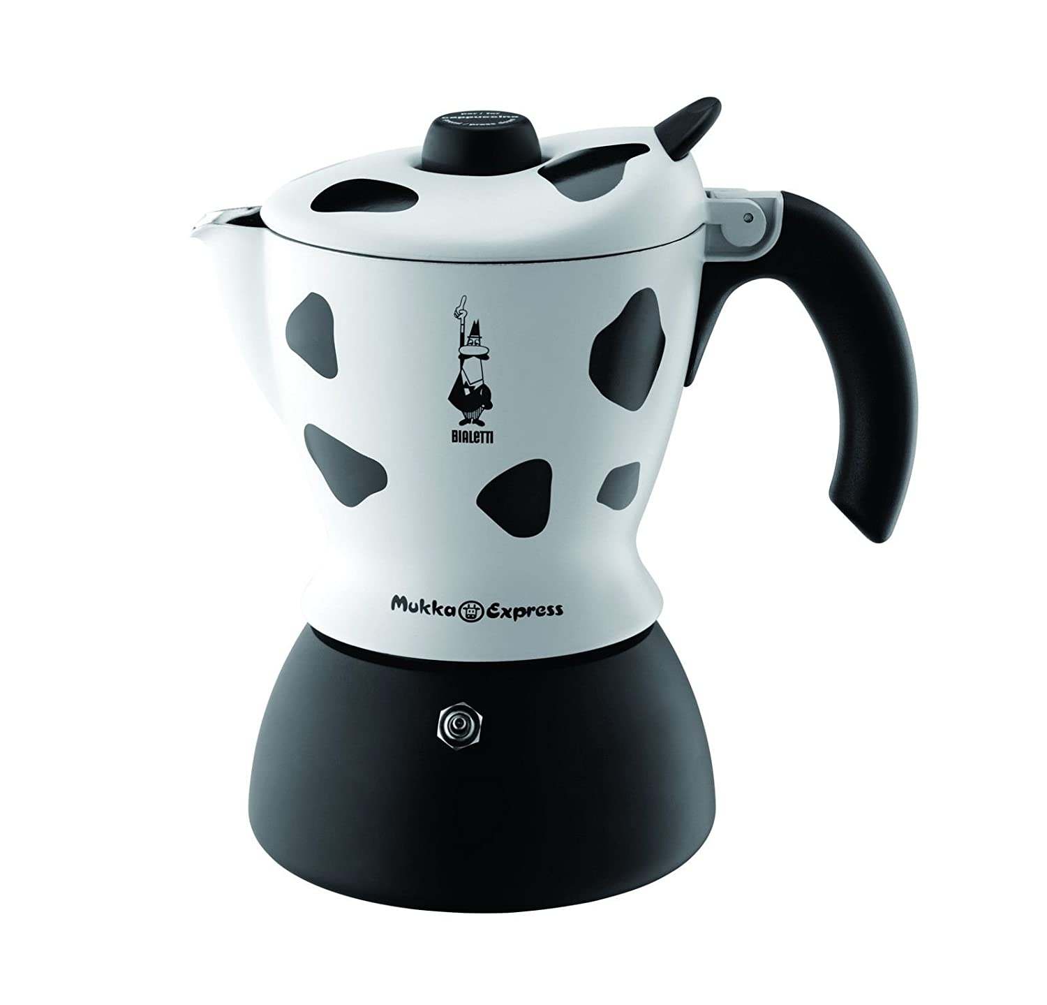 Bialetti Mukka Express - Stove Top Cappuccino/Latte Coffee Maker - With Built-In Milk Frother - 2 Cup - Cow Print MukkaKuh