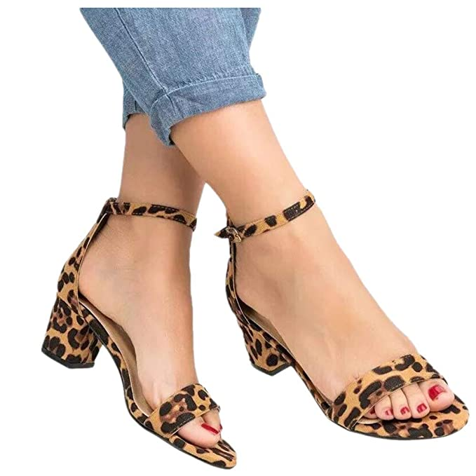 0b9d4871626 Womens Summer Sexy Leopard Print Heeled Sandals Buckle Ankle Strap ...