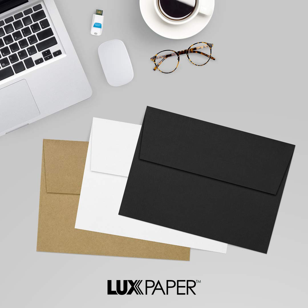 LUXPaper A7 Invitation Envelopes for 5 x 7 Cards in 80 lb. Black Linen, Printable Envelopes for Invitations, w/Peel and Press Seal, 250 Pack, Envelope Size 5 1/4 x 7 1/4 (Black) by Envelopes.com