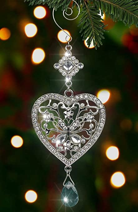 Heart and Butterfly Hanging Ornament - Clear Crystals and Filigree Ornament  - Sparkly Silver Christmas Ornament - Amazon.com: Heart And Butterfly Hanging Ornament - Clear Crystals