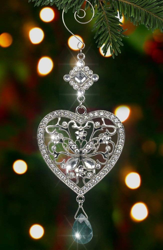 heart and butterfly hanging ornament clear crystals and filigree ornament sparkly silver christmas ornament - Christmas Decorations Amazon