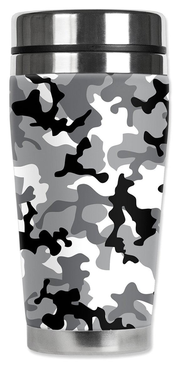 Mugzie MAX Grey Camouflage Art Plates 979-MAX 20-Ounce Stainless Steel Travel Mug with Insulated Wetsuit Cover