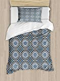 Ambesonne Arabian Twin Size Duvet Cover Set, Retro Style Arabesque Motifs Mosaic Ceramic Design Traditional Culture Print, Decorative 2 Piece Bedding Set with 1 Pillow Sham, Grey White Blue