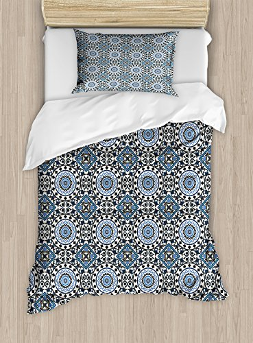Ambesonne Arabian Twin Size Duvet Cover Set, Retro Style Arabesque Motifs Mosaic Ceramic Design Traditional Culture Print, Decorative 2 Piece Bedding Set with 1 Pillow Sham, Grey White Blue by Ambesonne