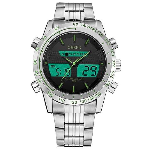OHSEN Reloj AD1701W Hombres y Mujeres al por Mayor de Moda al Aire Libre Impermeable Ocio Reloj de Acero cinturón de Doble Zona horaria Reloj: Amazon.es: ...