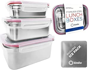 Stainless Steel Food Storage Containers with Lids Ice Pack, Metal Lunch-Box Container Stackable Boxes for Kids Sandwich Snack Adults Salad Keto Meal Leakproof Eco BPA Free Bento Set of 3 Small - Large