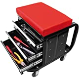 Silla de taller con ruedas carro de herramientas con cajones con ruedas (Herramientas Alto Negro Rojo