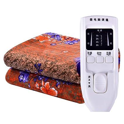 SRTLT esterilla electrica reina, control inteligente doble tiempo de Flannel a prueba de agua manta