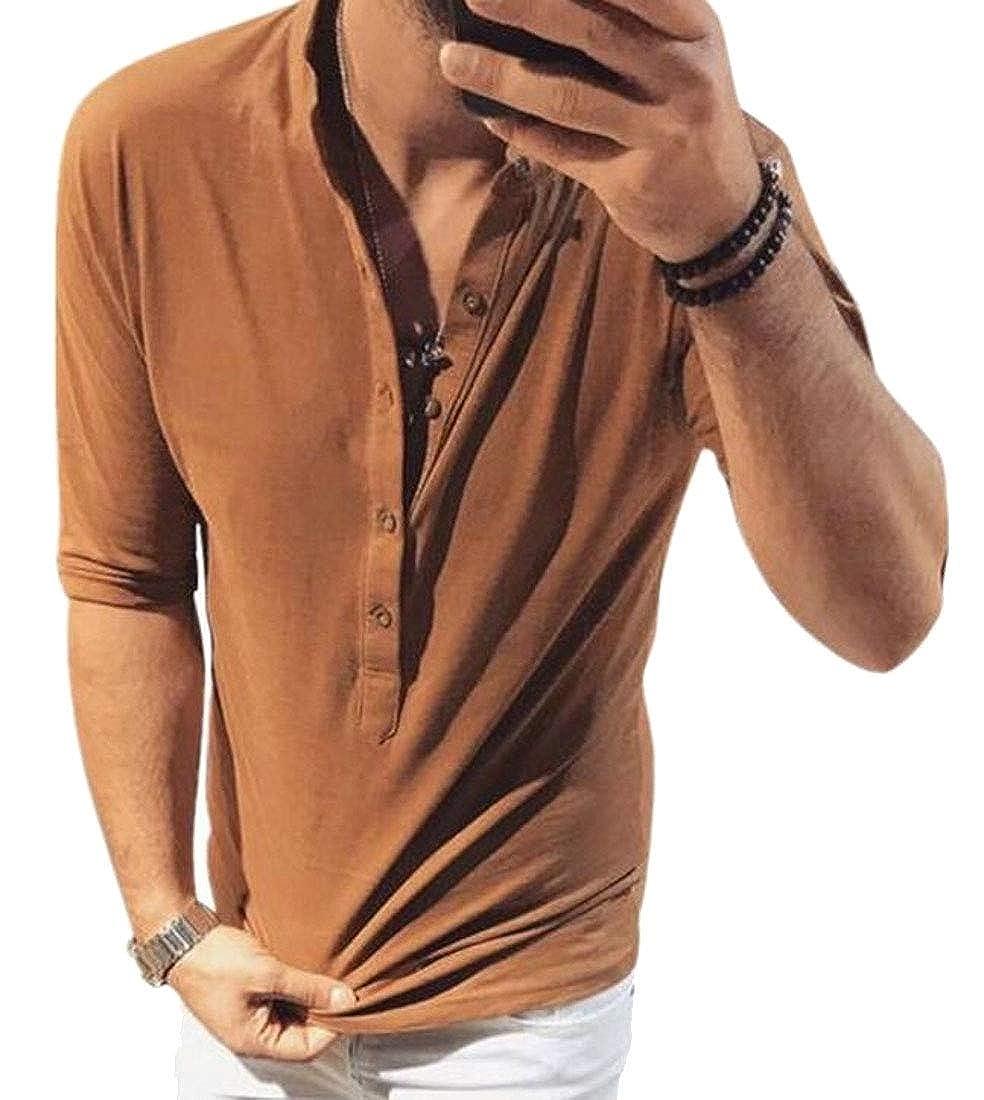 WSPLYSPJY Mens Henley Shirts Short Sleeve Loose Casual Summer Solid T Shirts
