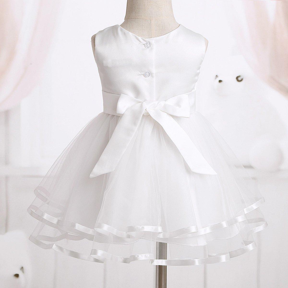 3a0492b43f877 Freebily Robe de Baptême sans Manches Bébé Fille Brodée Fleur Robe  d anniversaire Cérémonie à Bouton avec Bloomers Princesse Noël Tenue Outfit  0-24 Mois  ...