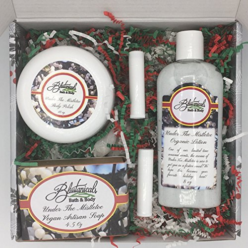 Mistletoe Bath and Body Gift Set, Spa Kit, Gifts Under 50, Hand Made Gift Set