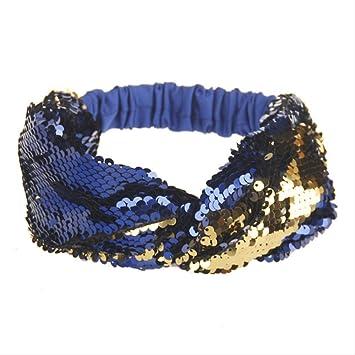 XYCC diadema de doble color con lentejuelas para yoga, cinta ...
