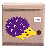 HIYAGON 13''x13''x13''Storage Box/Bin/Cube/Basket/Chest/Organizers with Lids for Bedroom, Nursery, Playroom, Toys, Clothing, Blankets, Books, More(Hedgehog)