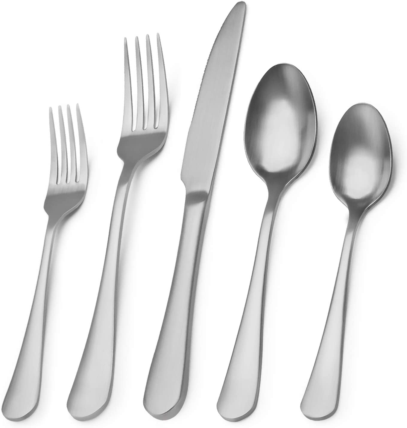 Matte Silverware Set, 20-Piece Stainless Steel Flatware Set,Kitchen Utensil Set Service for 4,Tableware Cutlery Set for Home and Restaurant, Dishwasher Safe