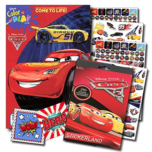 Disney Cars 3 Coloring Book and Stickers Super Set Bundle ~Disney Cars Coloring Book with Disney Cars Stickers & Specialty Jumbo Reward ()