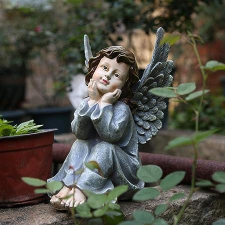 Luxdeoo Decorativas Estatuas Figuritas Escultura Estatuilla Decoración De Jardín Jardín Exterior Jardinería Ornamento Decoración Resina Figura Angelito Escultura: Amazon.es: Hogar