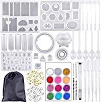 """مجموعة ادوات وقوالب صب السيليكون 83 قطعة مع حقيبة تخزين سوداء لصنع المجوهرات """"يمكنك صنعها بنفسك"""""""
