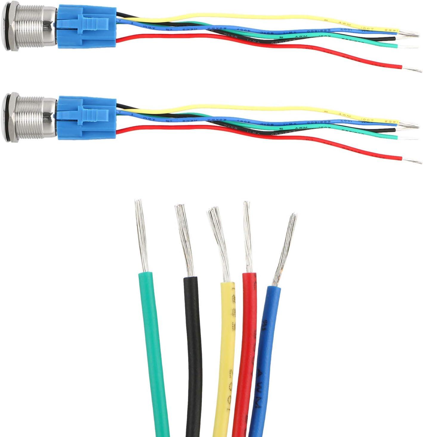 5-poliger 12-V-LED-beleuchteter SPDT-EIN//Aus-Auto-Druckknopfschalter mit Kabelbuchse f/ür 19 mm 3//4-Montageloch EEEKit Auto-Druckknopf-Verriegelungsschalter