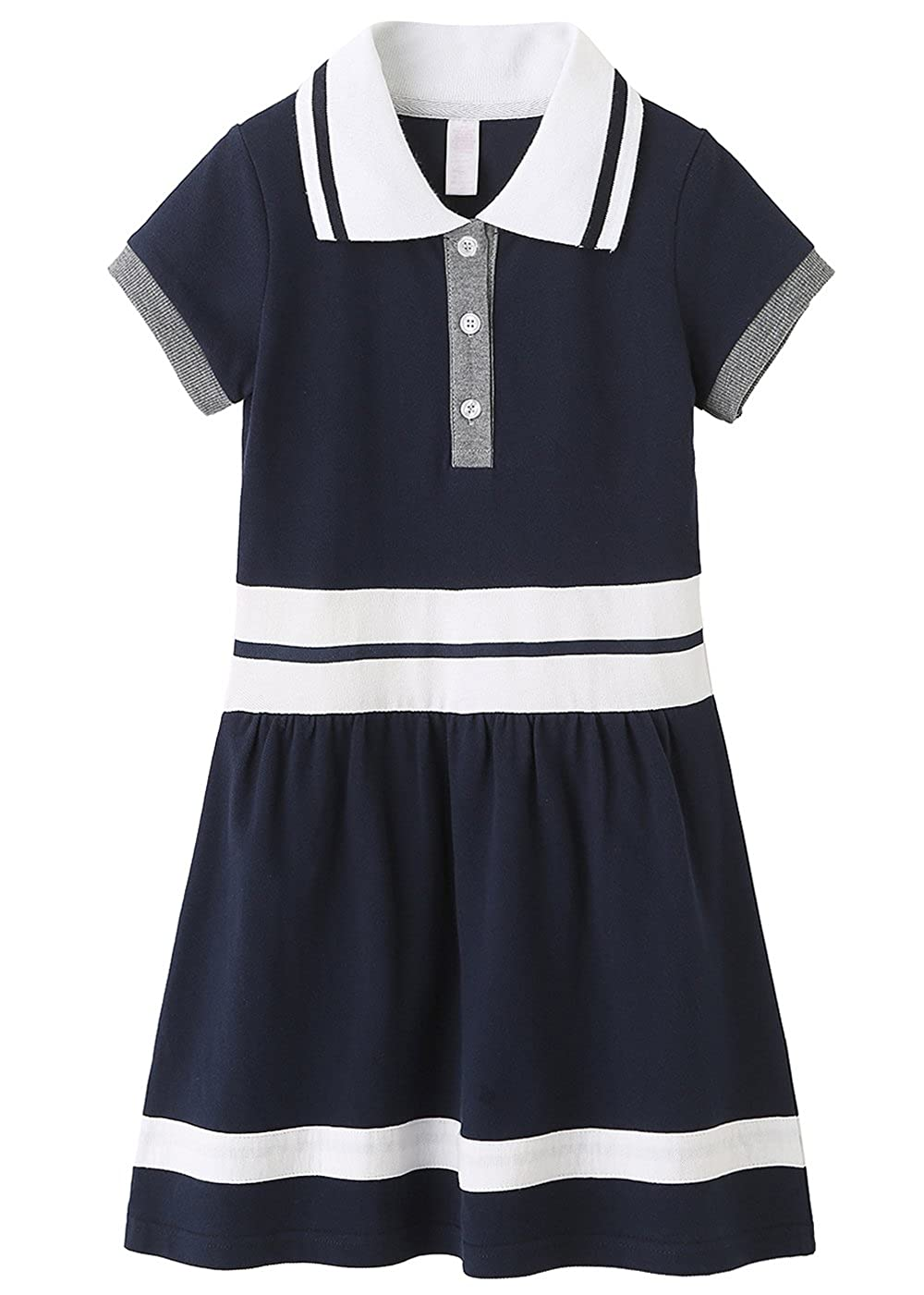 Grandwish School Uniform Girls' Short Sleeve Polo Dress(2 Colors) for Age 5 to 14 AMZCC081