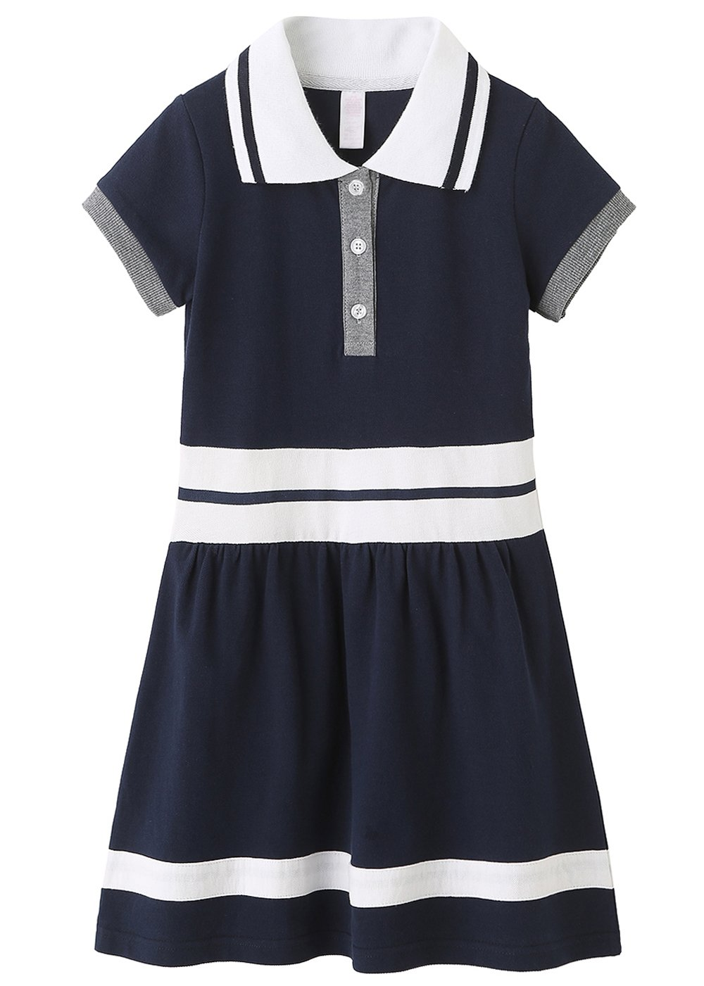 Grandwish School Uniform Girls' Short Sleeve Polo Dress Navy 5/6