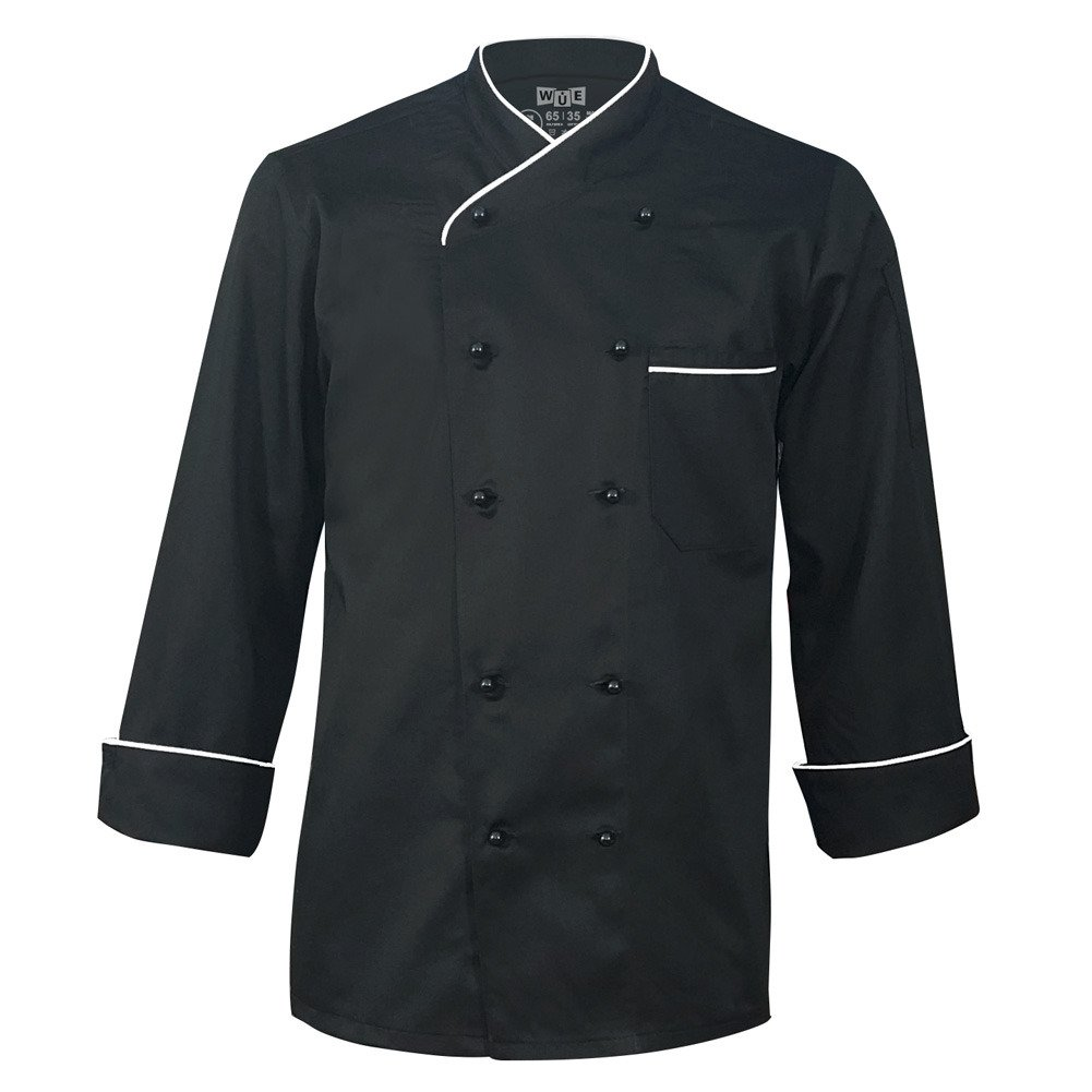 10oz apparel Long Sleeve Black Chef Coat with White Piping
