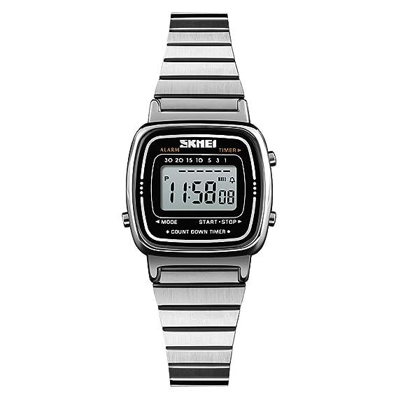 FeiWen Mujer Fashion Lujo Digitales Relojes de Pulsera Multifuncional Deportivo LED Electrónica Acero Inoxidable Elegante Casual Reloj (Plateado): ...