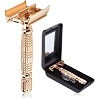 BAILI Luxury Classic Men's Double Edge Safety Razor Shaver Twist Butterfly Open Head with 1 Swedish Platinum Blade 1 Mirrored Travel Case, Rose Gold, BD177