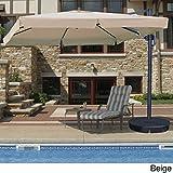 Santorini II 10-ft Square Cantilever Umbrella w/ Valance in Beige Sunbrella Acrylic For Sale