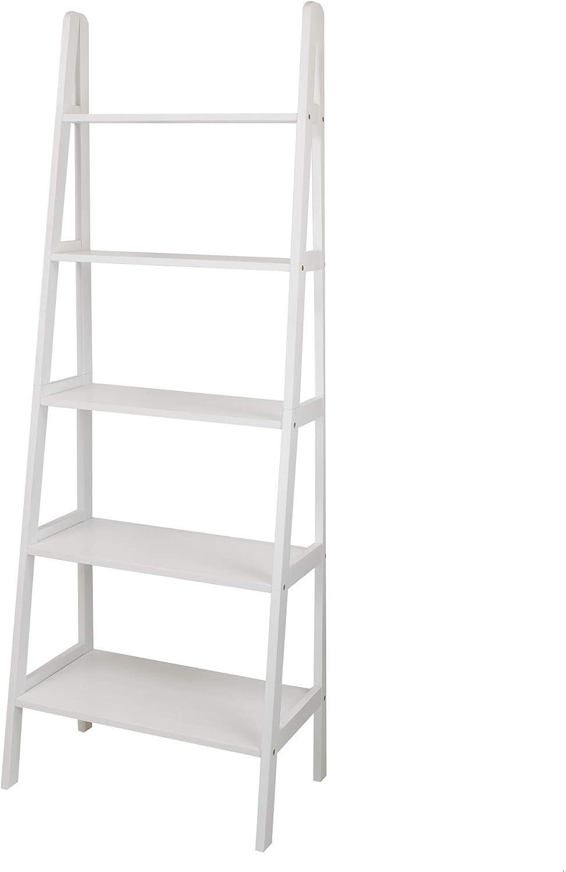 Casual Home 5-Shelf Ladder Bookcase, White (New)
