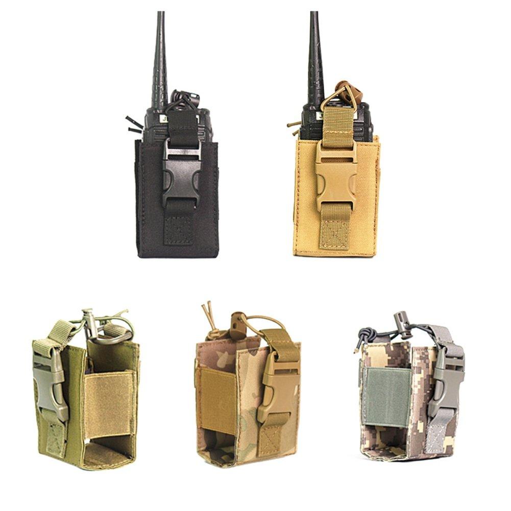Leezo - Funda de Nailon para Radio Walkie Talkie, portátil, Impermeable, Durable, con Dos Compartimentos para radios, Negro