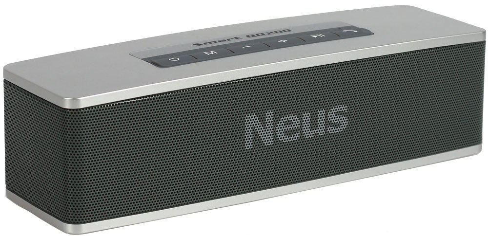 Neus Bluetooth Speaker Wireless Portable with HIFI sounds,High Power,Deep Dass Effect, True 3d Stereo *Smart Design, 2 Speakers for Office & Home Playing (Silver)