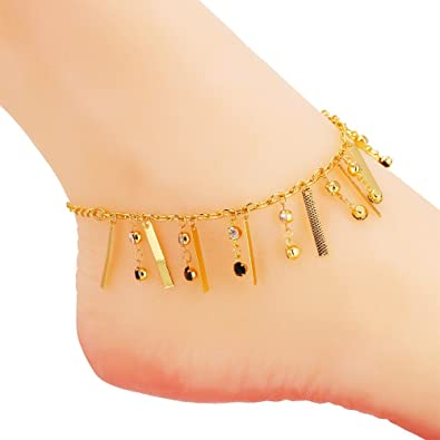 jewellery design imitation anklet leg jewelry img gold chain fancy payal plated traditional