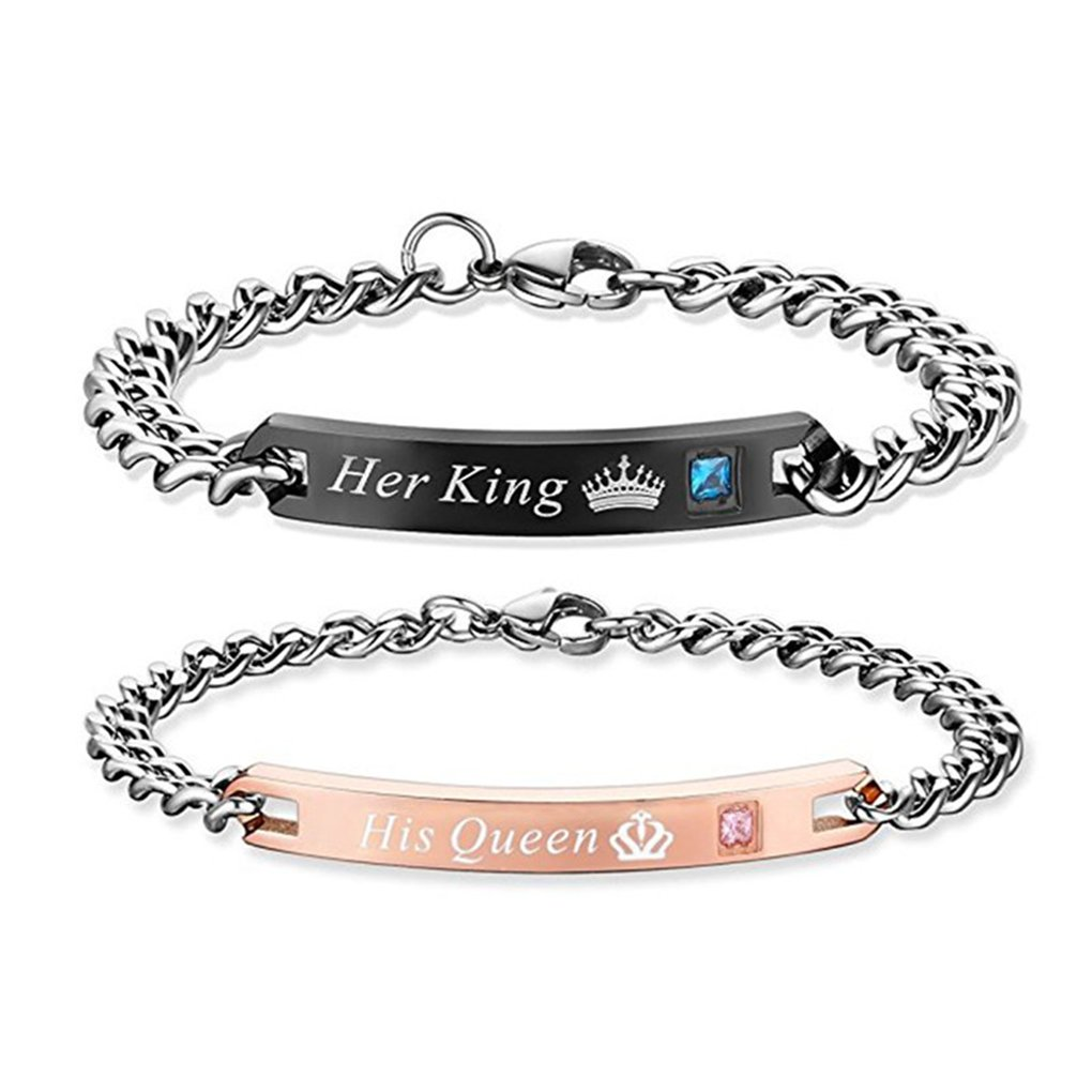 Gift for Lover His Queen Her King Stainless Steel Couple Bracelets for Women Men Jewelry Matching Set (His Queen Her King)