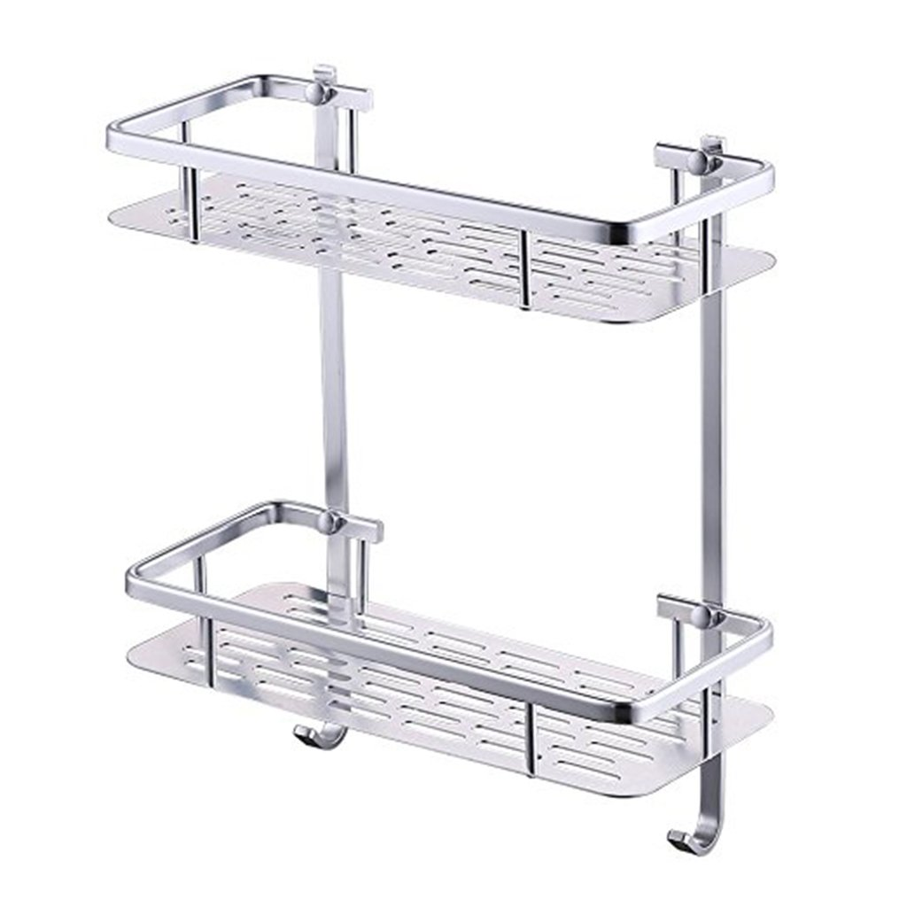 304 Stainless Steel Bathroom Shelf Bathroom Shelf Storage Basket Wall Hanging Double Square Pendant Angle Stand 36cm