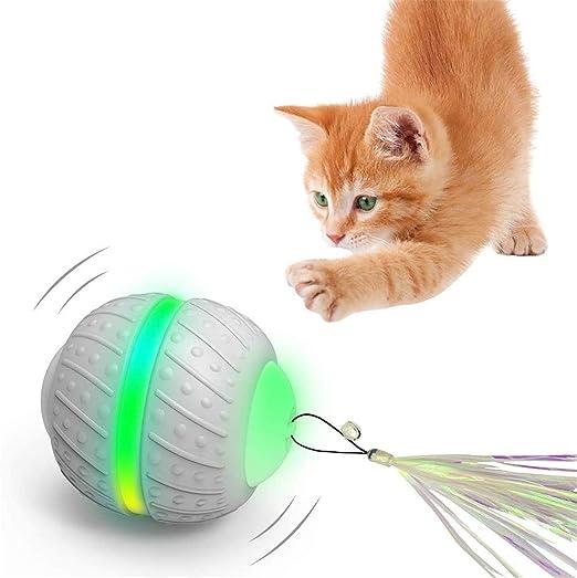 PETTOM Juguete para Gatos Bola de Gato Interactiva Juguete Gato Pelota Eléctrica Juguete Gatos Bola con Carga USB de la luz LED, Bola de Inteligencia Giratoria Automática 2 Modos para Gatos Mascotas: