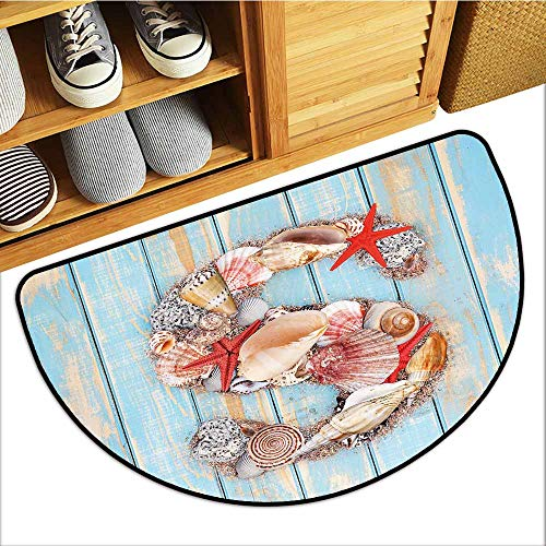 - TableCovers&Home Non-Slip Door Mat, Letter S Indoor Doormats for Office, Various Seashells Scallops Starfishes on Wooden Planks Nautical (Pale Blue Ivory Dark Coral, H24 x D36 Semicircle)