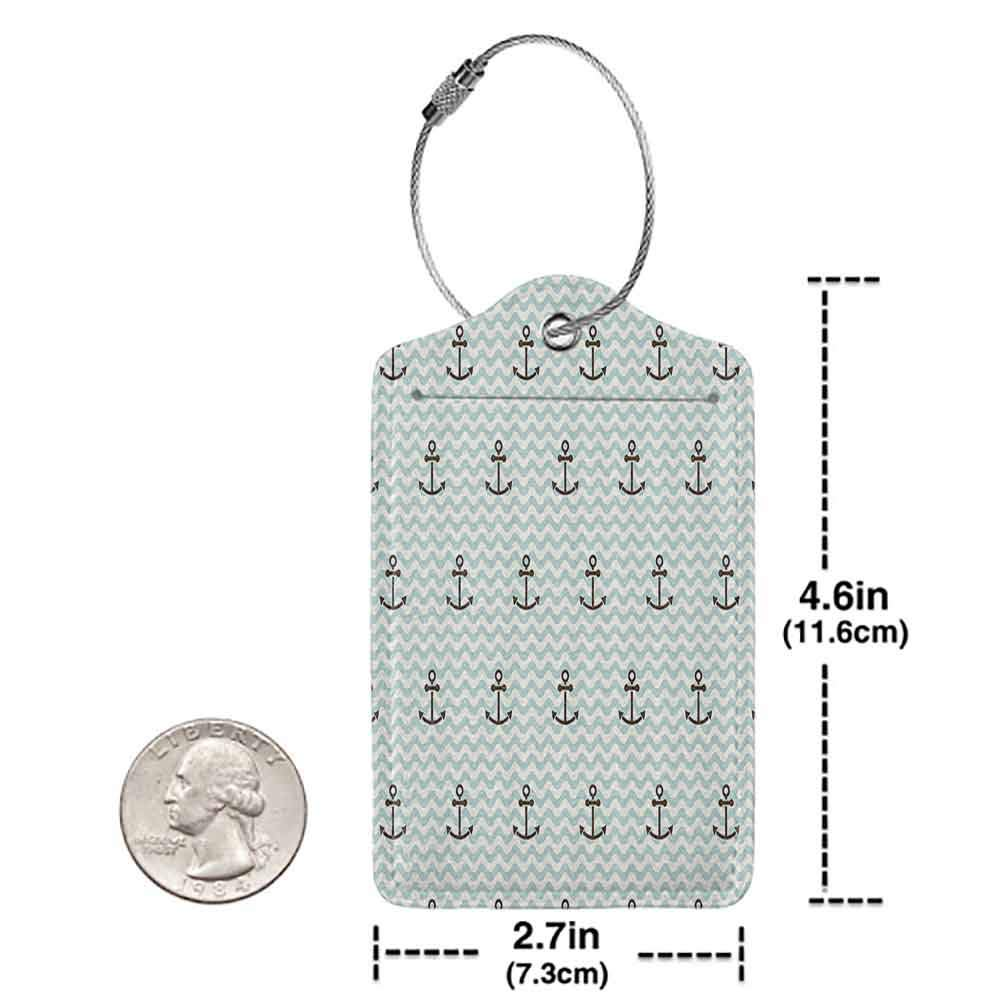 Multicolor luggage tag Anchor Decor Collection Pattern of Anchors and Waves Striped Exotic Vacation Old Times Happiness Tour Image Hanging on the suitcase Blue White Brown W2.7 x L4.6