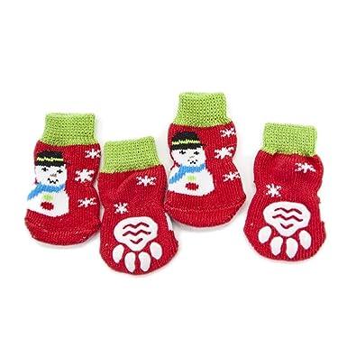 Calcetines para Perros, Zapatos Antideslizantes Antideslizantes para Mascotas De Navidad, Calzoncillos Anti-sucios para El Otoño Y El Invierno 8PCS, ...