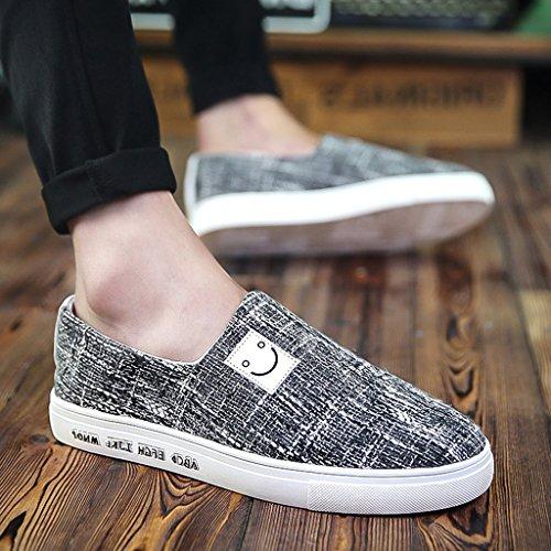 Zapatos 40 Respirables Moda Coreano Estilo alpargatas Black Mesa Black De color Size Los Verano Perezoso Para Casual Yananhome Lona Hombre dw0xUAqdz