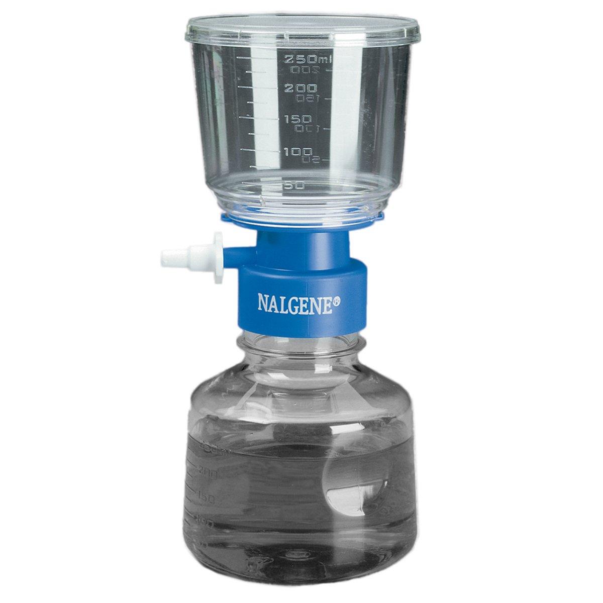 Nalgene MF75 series Polystyrene Lab Bottletop Filter, Fits 33mm Neck, Sterile, Graduated, Side Arm Adapter, Blue Collar, 0.45 Micron, 75mm Membrane Diameter, 500mL Capacity (Case of 12) by Nalgene