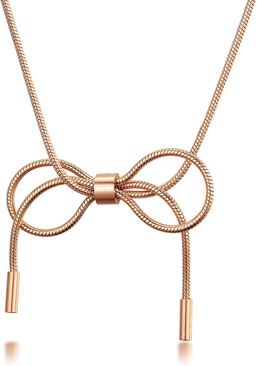 SCARL Rose Gold Fashion Charm Bow Knot Rope Dainty Choker Necklaces for Women
