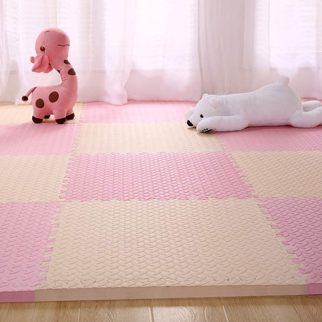 LFY Baby-Puzzle-Matten mit Kanten, Dicker PE-Schaum, niedlich kriechende Matte (Farbe   Blau, größe   16 Piece) Rosa 12 piece