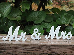 Amajoy Vintage Mr & Mrs White Wooden Letters Wedding Stand Sign Stand Figures Decor Wedding Present Home Decoration