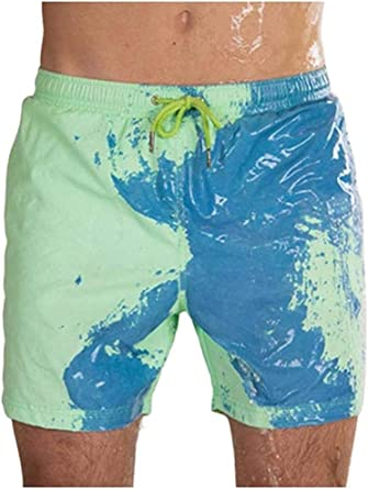 Temperature Sensitive Shorts Beach Swimwear Pants Color Changing Swim Trunks
