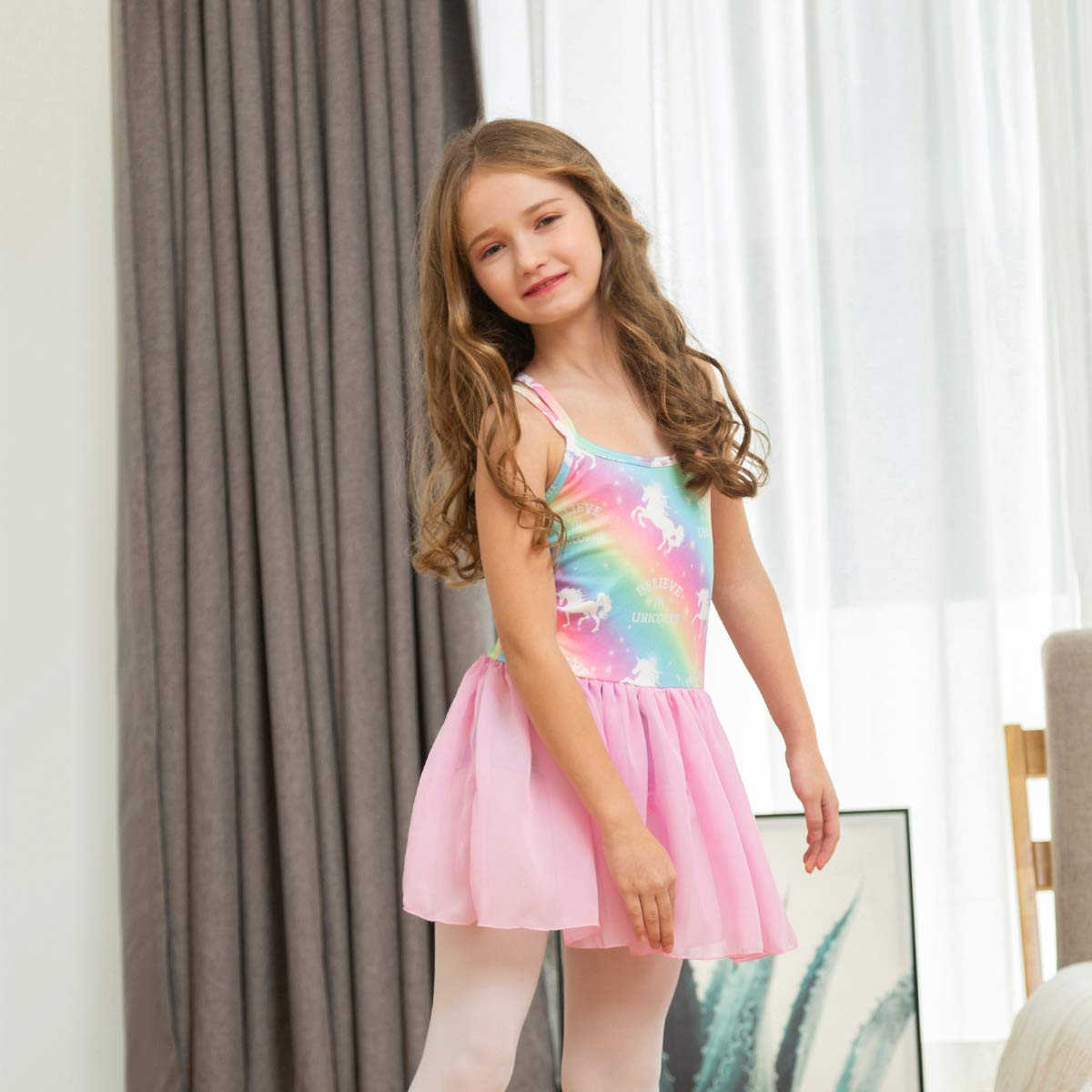 Nidoul Kid Girls Skirted Leotards Unicorn Rainbow Ballet Leotards Tutu Dress Gymnastics Camisole