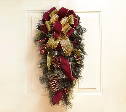 burgundy christmas door wreath holiday door swag cr4796