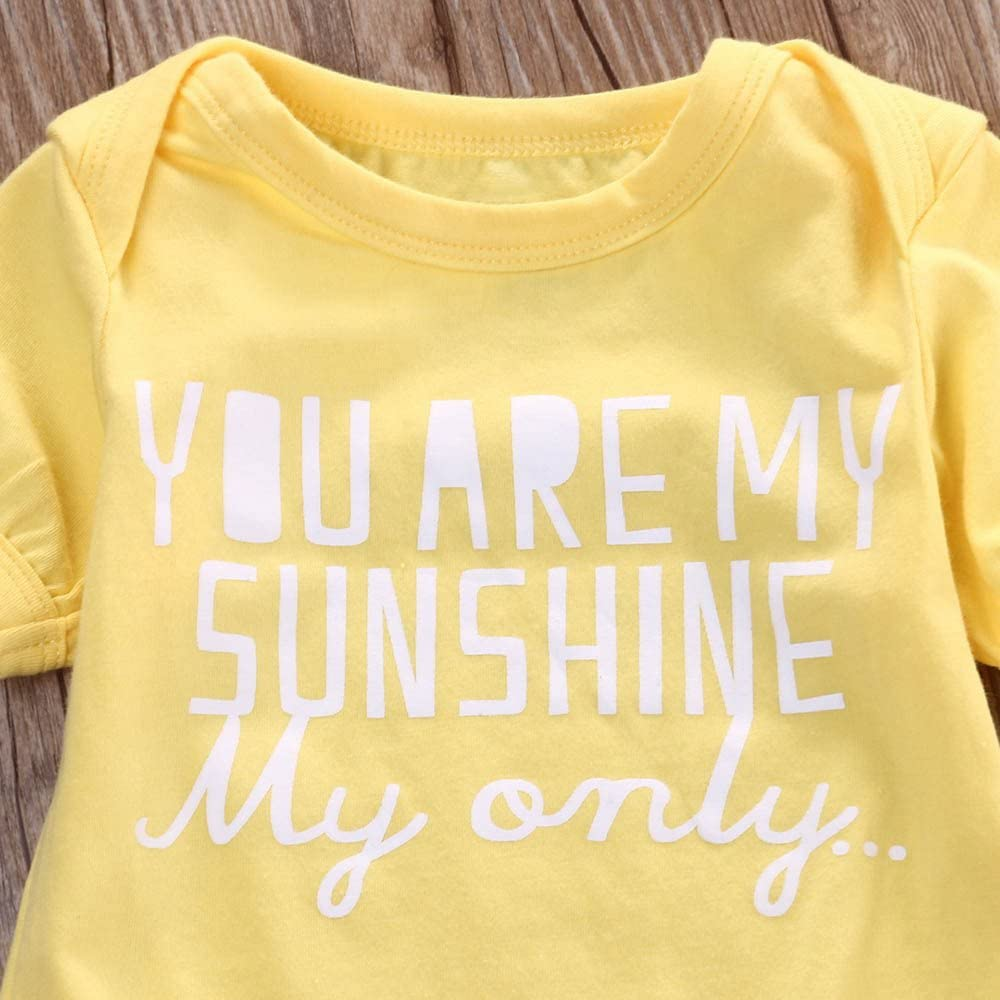 Fenleo Newborn Baby Gilrs You Are My Sunshine Short Sleeve Romper Playsuit Outfit