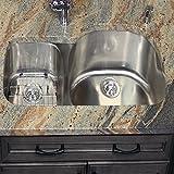 Nantucket Sinks NS3121-R-16 31-Inch  70/30 Double Bowl Reverse Undermount  Kitchen Sink, Stainless Steel