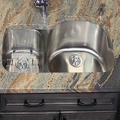 Nantucket Sinks NS3121-R-16 31-Inch  70/30 Double Bowl Reverse Undermount  Kitchen Sink, Stainless Steel (Sink Bowl Reverse)